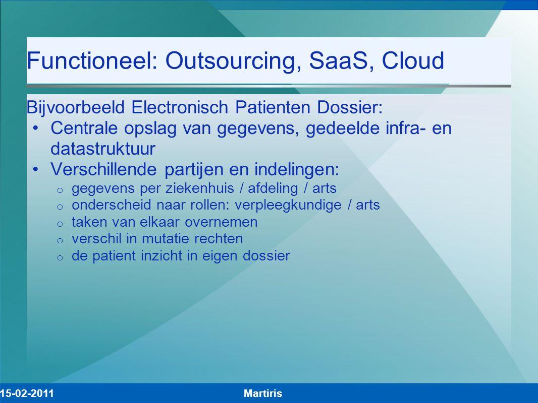 Functioneel: Outsourcing, SaaS, Cloud Bijvoorbeeld Electronisch Patienten Dossier: Centrale opslag van gegevens, gedeelde infra- en datastruktuur Vers