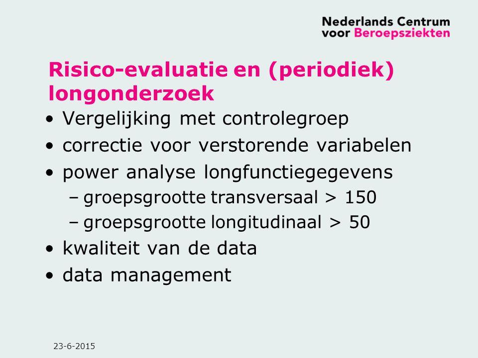 23-6-2015 Risico-evaluatie en (periodiek) longonderzoek Vergelijking met controlegroep correctie voor verstorende variabelen power analyse longfunctie