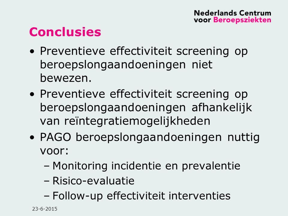 23-6-2015 Conclusies Preventieve effectiviteit screening op beroepslongaandoeningen niet bewezen. Preventieve effectiviteit screening op beroepslongaa