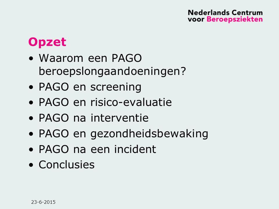 Opzet Waarom een PAGO beroepslongaandoeningen? PAGO en screening PAGO en risico-evaluatie PAGO na interventie PAGO en gezondheidsbewaking PAGO na een
