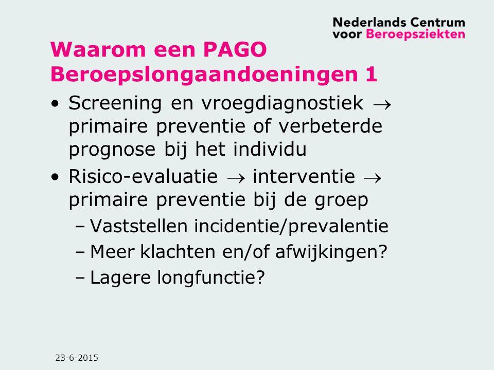 23-6-2015 Waarom een PAGO Beroepslongaandoeningen 1 Screening en vroegdiagnostiek  primaire preventie of verbeterde prognose bij het individu Risico-