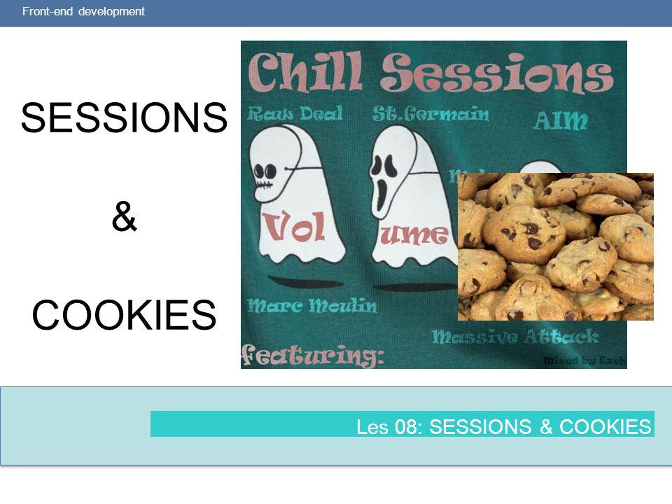 2 Leerdoelen (bron: modulewijzer) Front-end development  Je kent het verschil tussen $_SERVER, $_SESSION en $_REQUEST variabelen en je begrijpt het verschil in lifecycle  Je kunt een eenvoudige login maken  Je kunt Cookies zetten en deze later weer uitlezen  Je kunt gegevens bewaren in een Session  Je bent je bewust van verschillende manieren waarop hackers te werk gaan en kent methodes om dat in PHP te voorkomen.