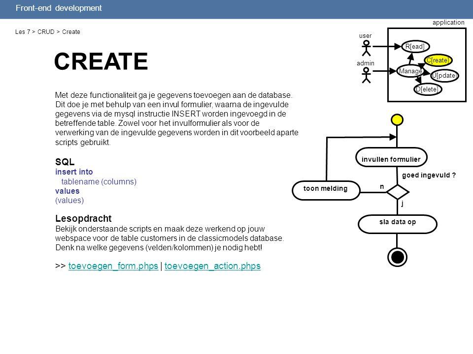 Front-end development Les 7 > CRUD > Create Met deze functionaliteit ga je gegevens toevoegen aan de database. Dit doe je met behulp van een invul for
