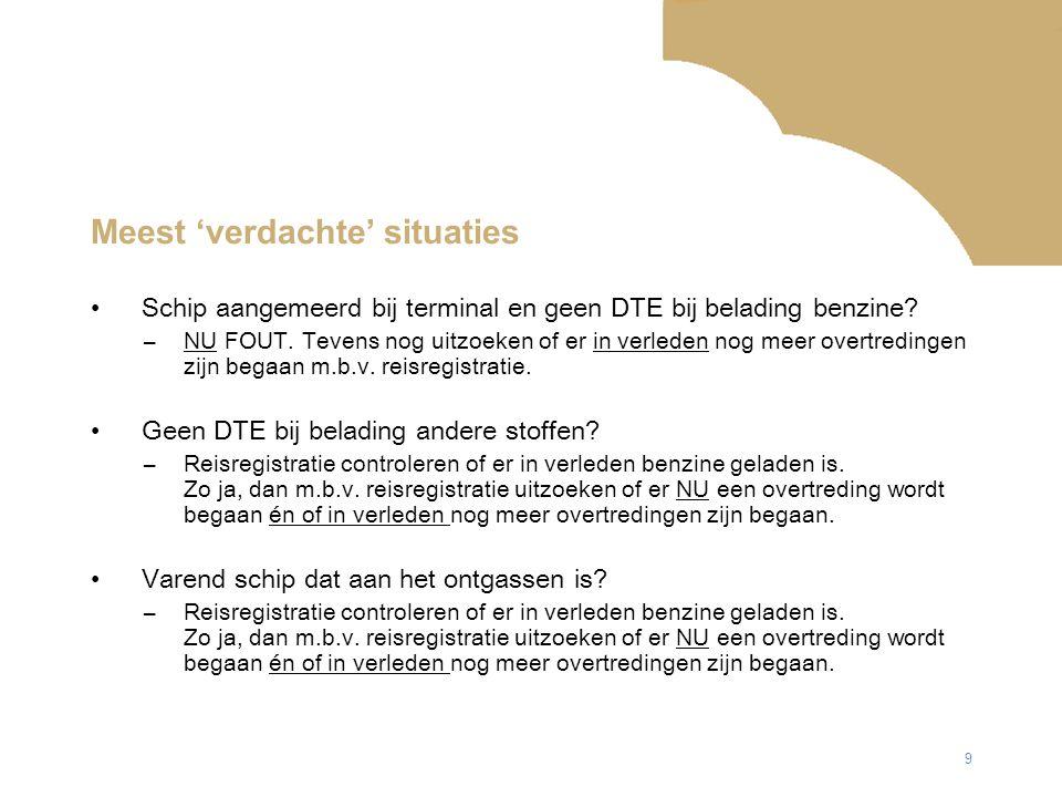 9 Meest 'verdachte' situaties Schip aangemeerd bij terminal en geen DTE bij belading benzine.