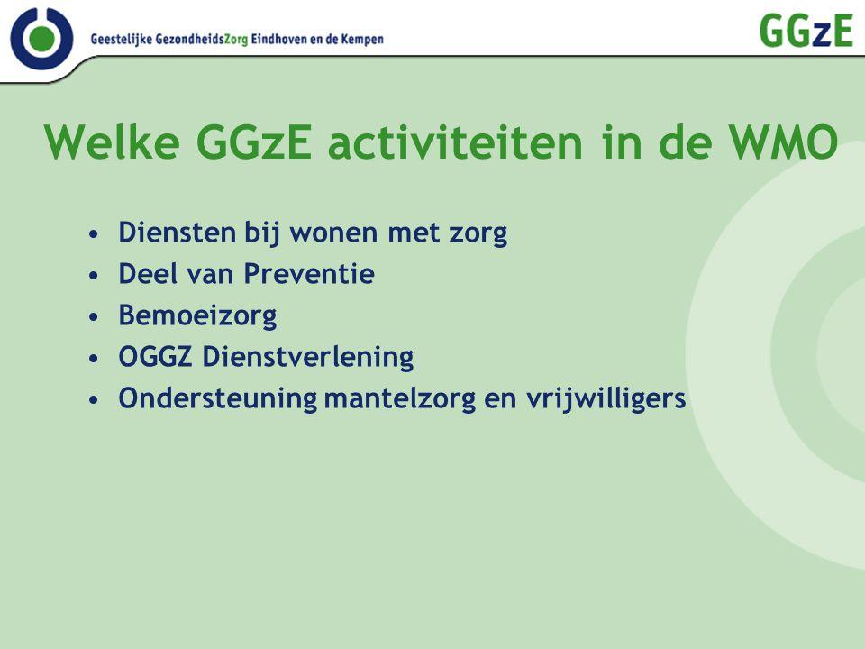 Welke GGzE activiteiten in de WMO Diensten bij wonen met zorg Deel van Preventie Bemoeizorg OGGZ Dienstverlening Ondersteuning mantelzorg en vrijwilligers