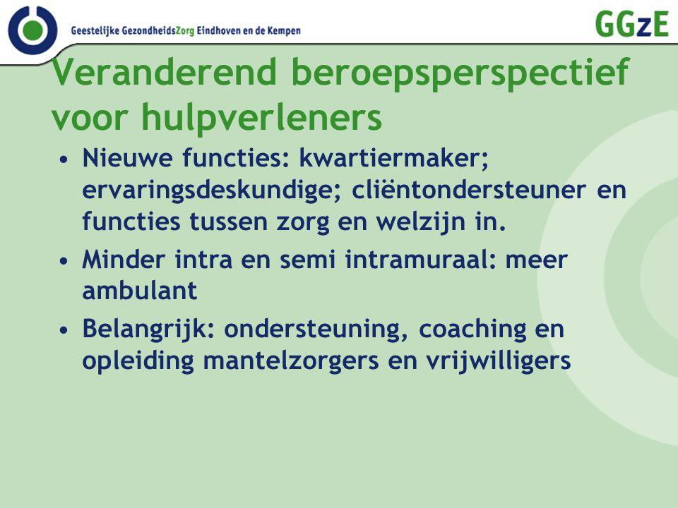 Veranderend beroepsperspectief voor hulpverleners Nieuwe functies: kwartiermaker; ervaringsdeskundige; cliëntondersteuner en functies tussen zorg en welzijn in.
