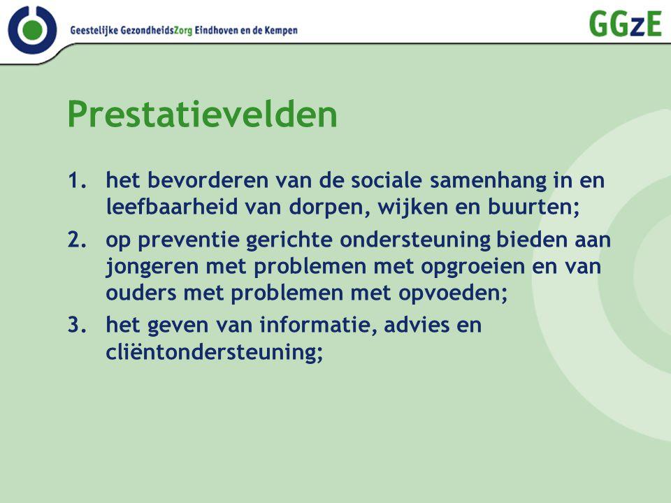 Prestatievelden 1.het bevorderen van de sociale samenhang in en leefbaarheid van dorpen, wijken en buurten; 2.op preventie gerichte ondersteuning bied