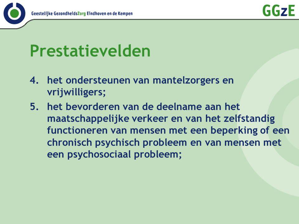 Prestatievelden 4.het ondersteunen van mantelzorgers en vrijwilligers; 5.het bevorderen van de deelname aan het maatschappelijke verkeer en van het zelfstandig functioneren van mensen met een beperking of een chronisch psychisch probleem en van mensen met een psychosociaal probleem;