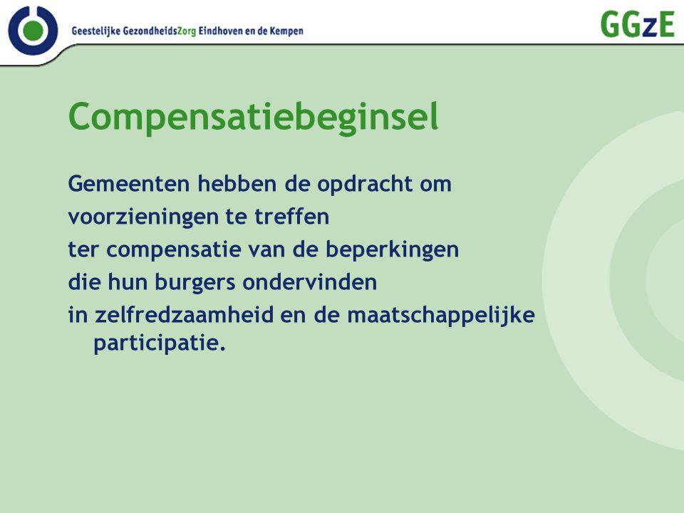 Compensatiebeginsel Gemeenten hebben de opdracht om voorzieningen te treffen ter compensatie van de beperkingen die hun burgers ondervinden in zelfredzaamheid en de maatschappelijke participatie.