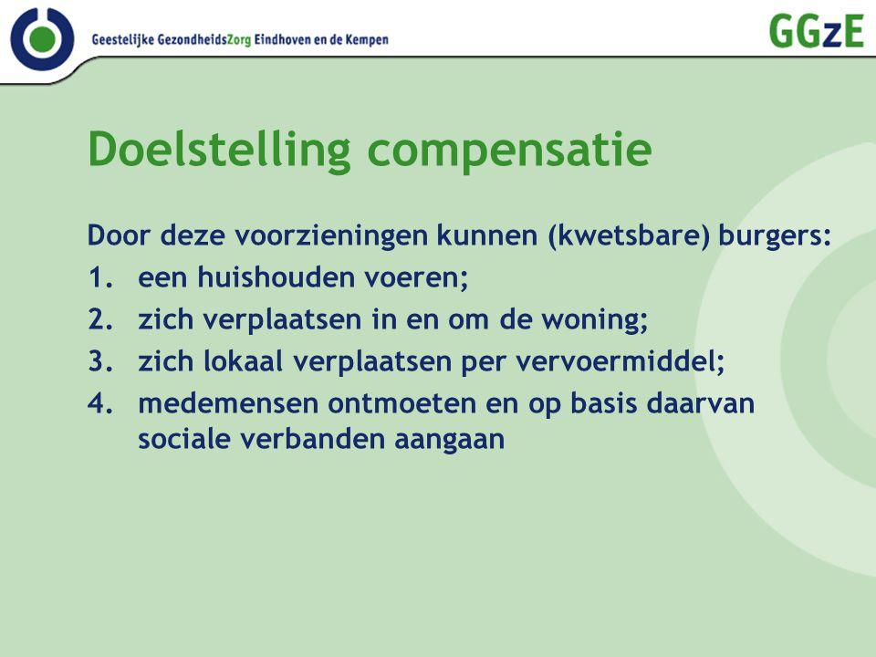 Doelstelling compensatie Door deze voorzieningen kunnen (kwetsbare) burgers: 1.een huishouden voeren; 2.zich verplaatsen in en om de woning; 3.zich lo