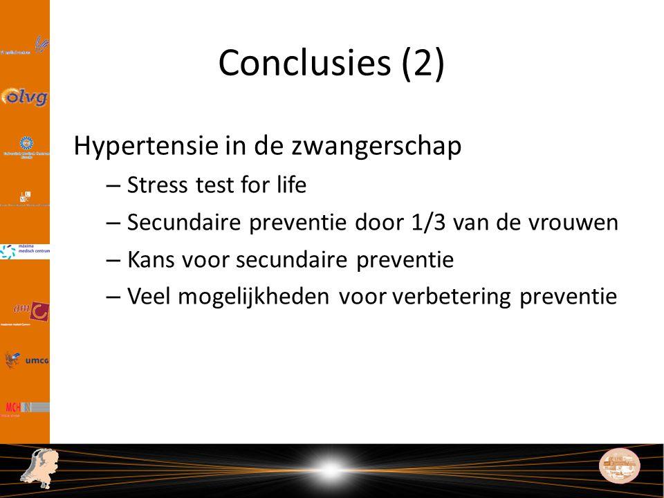 Conclusies (2) Hypertensie in de zwangerschap – Stress test for life – Secundaire preventie door 1/3 van de vrouwen – Kans voor secundaire preventie – Veel mogelijkheden voor verbetering preventie