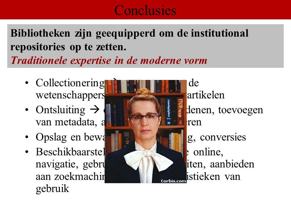 Voordelen, nadelen, oplossingen: –Wetenschappers: Auteurs Lezers –Andere 'stakeholders': Universitaire bestuurders Bibliotheek(bestuurders) Conclusies