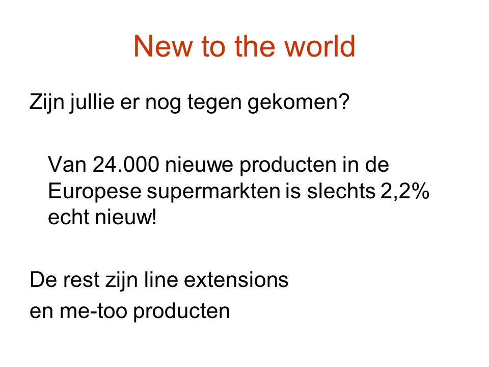 New to the world Zijn jullie er nog tegen gekomen? Van 24.000 nieuwe producten in de Europese supermarkten is slechts 2,2% echt nieuw! De rest zijn li
