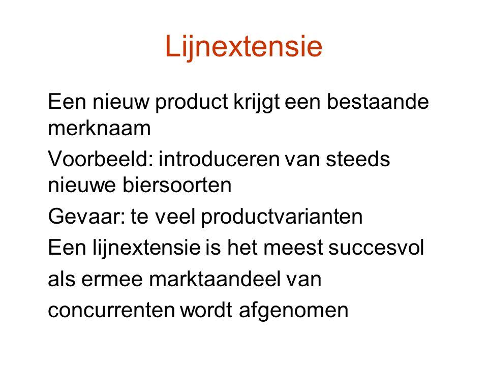 Lijnextensie Een nieuw product krijgt een bestaande merknaam Voorbeeld: introduceren van steeds nieuwe biersoorten Gevaar: te veel productvarianten Ee