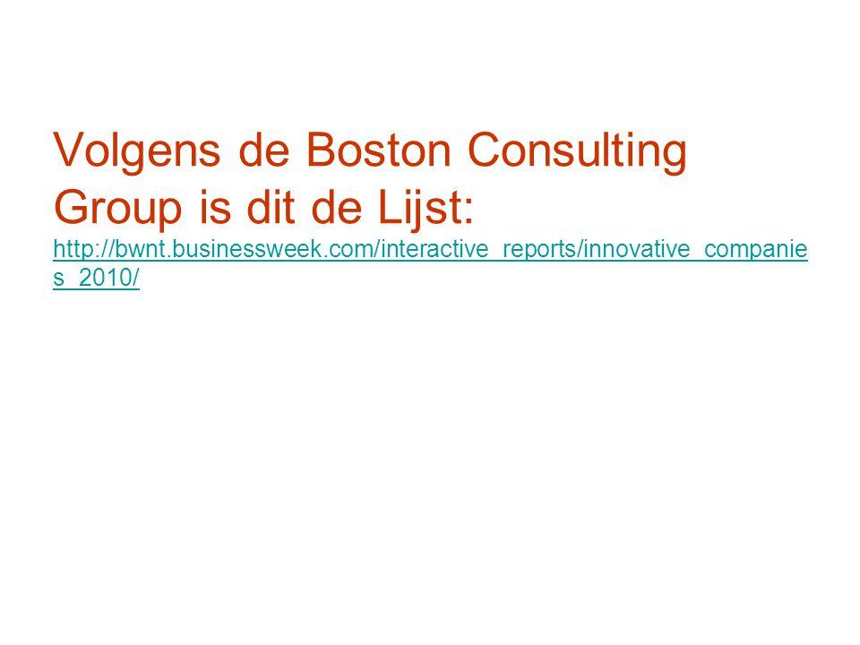 Volgens de Boston Consulting Group is dit de Lijst: http://bwnt.businessweek.com/interactive_reports/innovative_companie s_2010/ http://bwnt.businessweek.com/interactive_reports/innovative_companie s_2010/