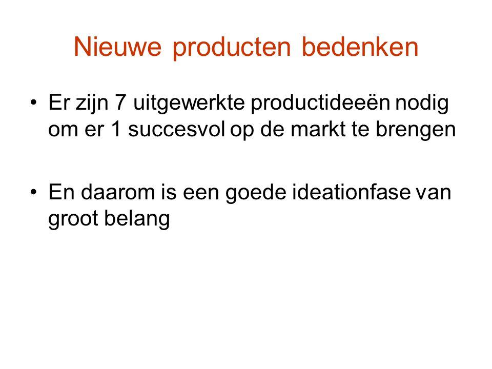 Nieuwe producten bedenken Er zijn 7 uitgewerkte productideeën nodig om er 1 succesvol op de markt te brengen En daarom is een goede ideationfase van groot belang