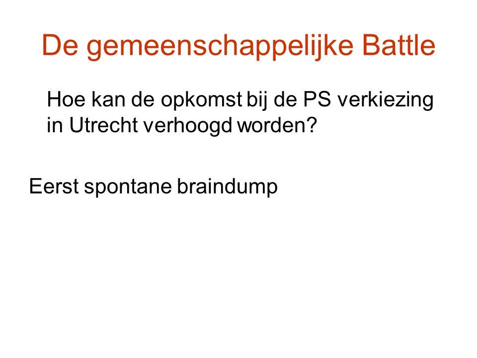 De gemeenschappelijke Battle Hoe kan de opkomst bij de PS verkiezing in Utrecht verhoogd worden? Eerst spontane braindump