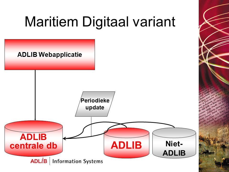 Maritiem Digitaal variant ADLIB centrale db Niet- ADLIB ADLIB ADLIB Webapplicatie Periodieke update