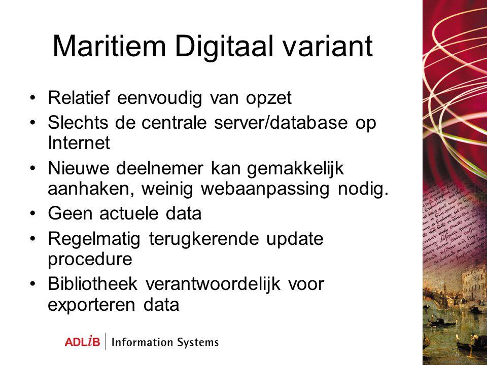 Maritiem Digitaal variant Relatief eenvoudig van opzet Slechts de centrale server/database op Internet Nieuwe deelnemer kan gemakkelijk aanhaken, weinig webaanpassing nodig.