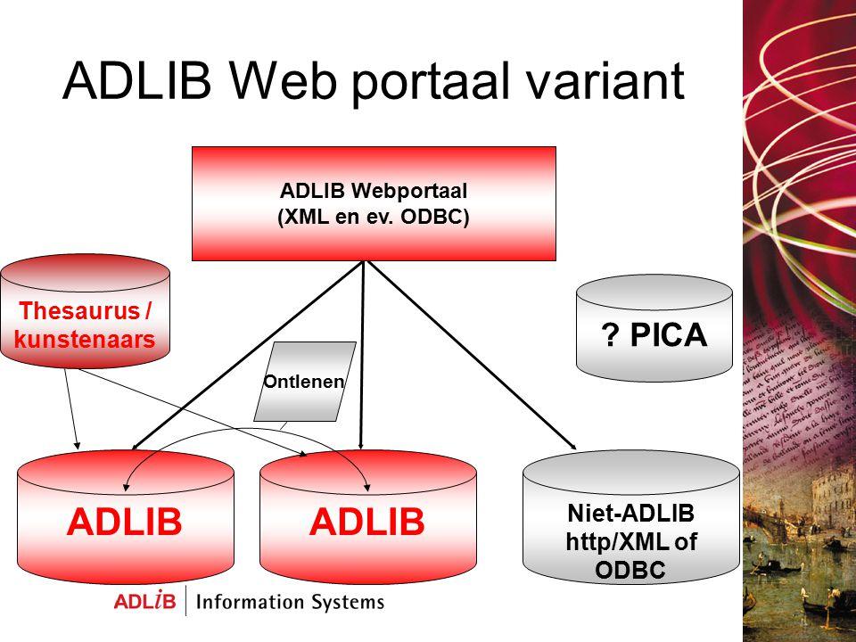 ADLIB Web portaal variant Actuele data op Internet Geen updates Meerdere soorten databases Via portal ook andere actuele informatie toegankelijk te maken (bijv.