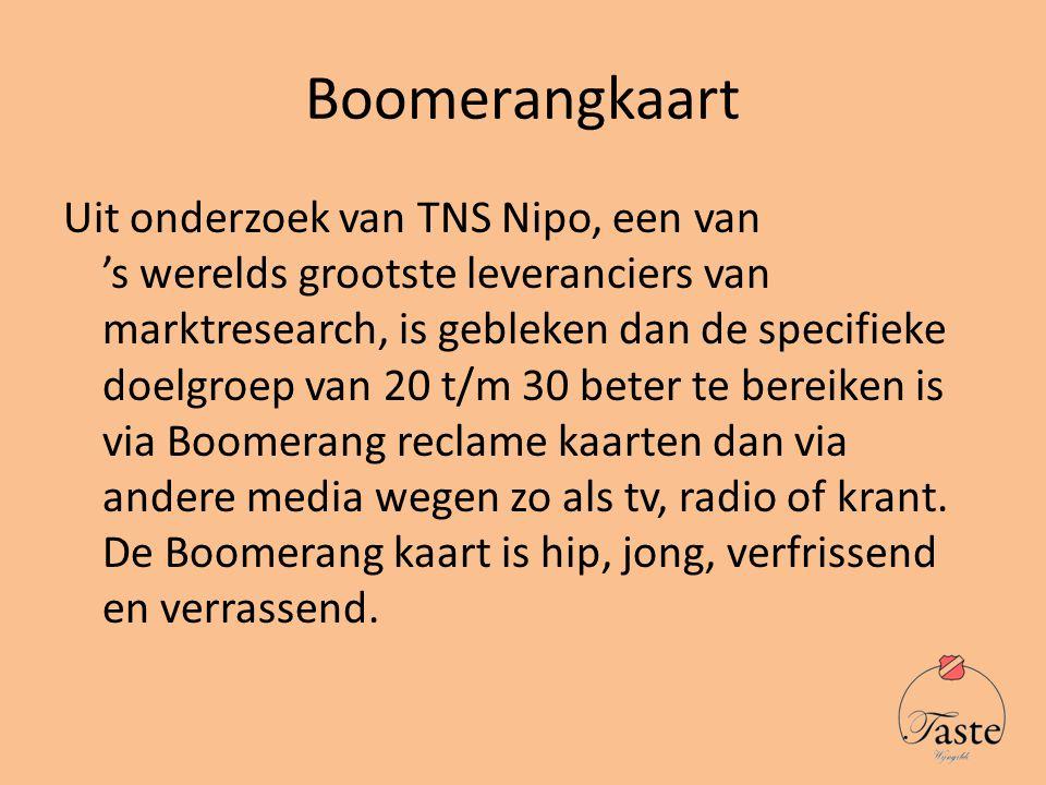 Boomerangkaart Uit onderzoek van TNS Nipo, een van 's werelds grootste leveranciers van marktresearch, is gebleken dan de specifieke doelgroep van 20 t/m 30 beter te bereiken is via Boomerang reclame kaarten dan via andere media wegen zo als tv, radio of krant.