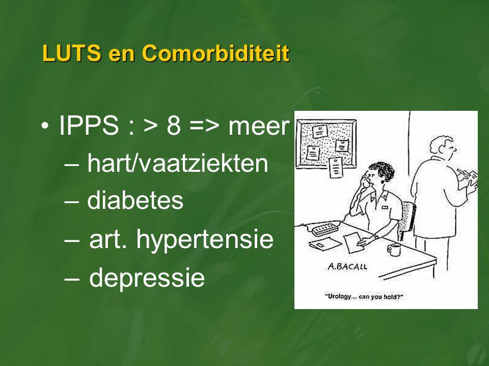 LUTS en Comorbiditeit IPPS : > 8 => meer – hart/vaatziekten – diabetes –art. hypertensie –depressie