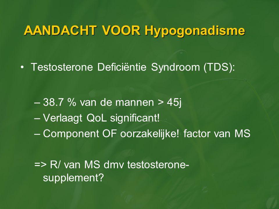 AANDACHT VOOR Hypogonadisme Testosterone Deficiëntie Syndroom (TDS): –38.7 % van de mannen > 45j –Verlaagt QoL significant! –Component OF oorzakelijke