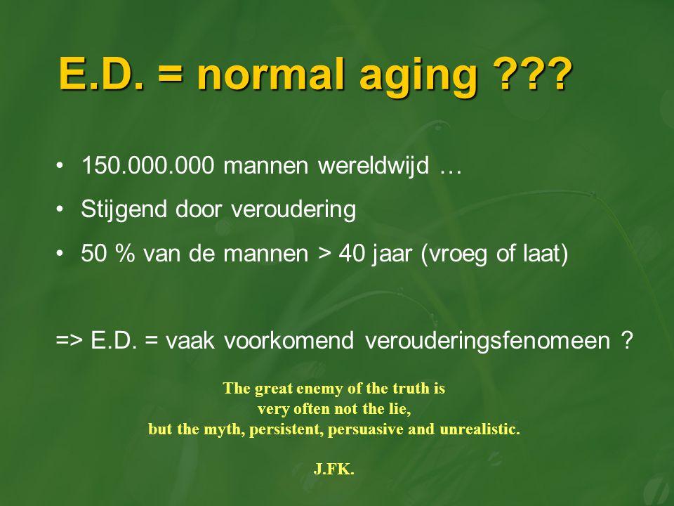 E.D. = normal aging ??? 150.000.000 mannen wereldwijd … Stijgend door veroudering 50 % van de mannen > 40 jaar (vroeg of laat) => E.D. = vaak voorkome