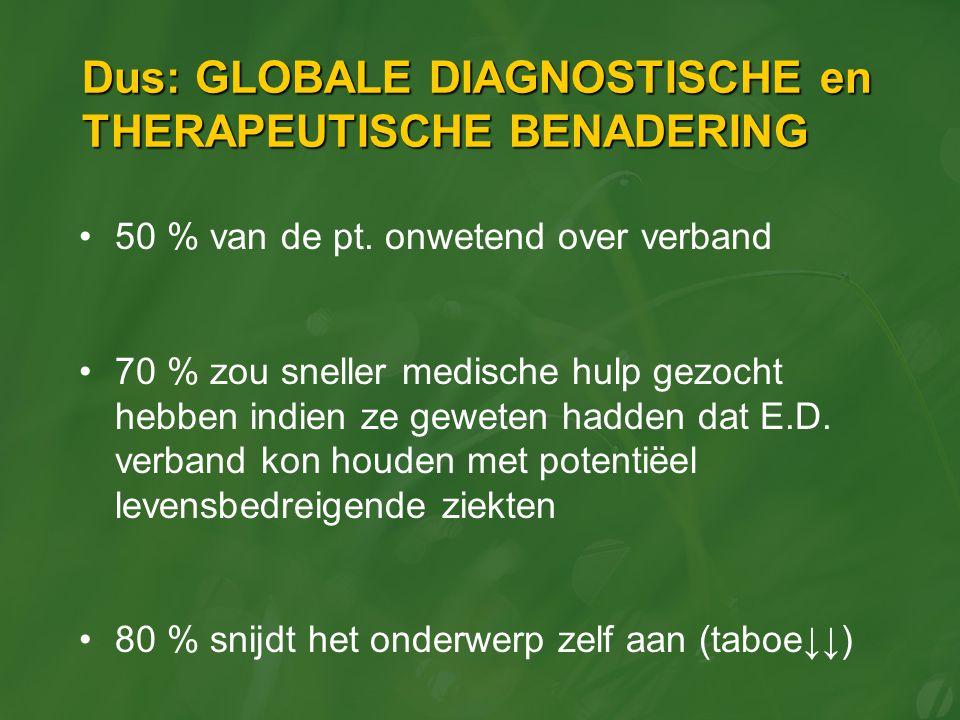 Dus: GLOBALE DIAGNOSTISCHE en THERAPEUTISCHE BENADERING 50 % van de pt. onwetend over verband 70 % zou sneller medische hulp gezocht hebben indien ze