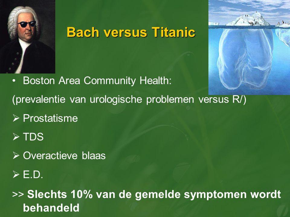 Bach versus Titanic Boston Area Community Health: (prevalentie van urologische problemen versus R/)  Prostatisme  TDS  Overactieve blaas  E.D. >>
