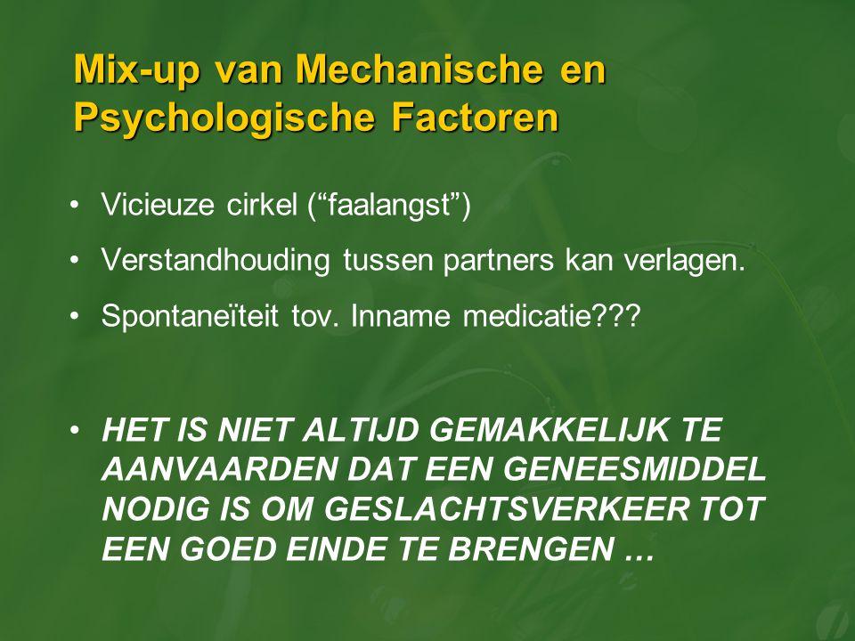 """Mix-up van Mechanische en Psychologische Factoren Vicieuze cirkel (""""faalangst"""") Verstandhouding tussen partners kan verlagen. Spontaneïteit tov. Innam"""