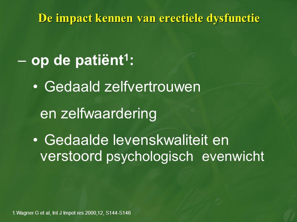 De impact kennen van erectiele dysfunctie – op de patiënt 1 : Gedaald zelfvertrouwen en zelfwaardering Gedaalde levenskwaliteit en verstoord psycholog