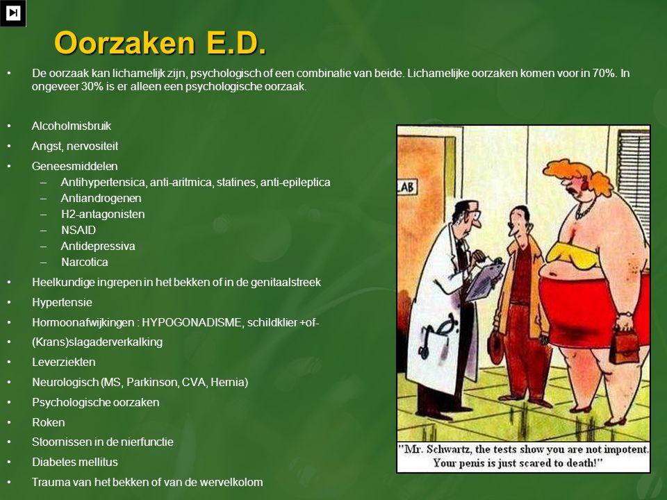 Oorzaken E.D. De oorzaak kan lichamelijk zijn, psychologisch of een combinatie van beide. Lichamelijke oorzaken komen voor in 70%. In ongeveer 30% is