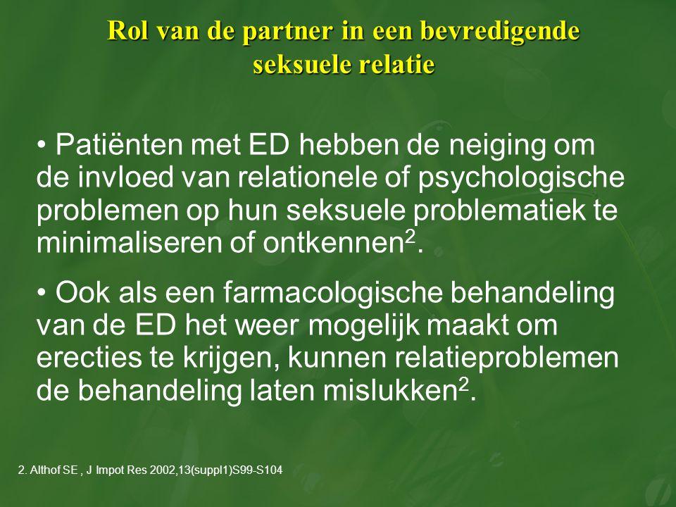 Rol van de partner in een bevredigende seksuele relatie Patiënten met ED hebben de neiging om de invloed van relationele of psychologische problemen o
