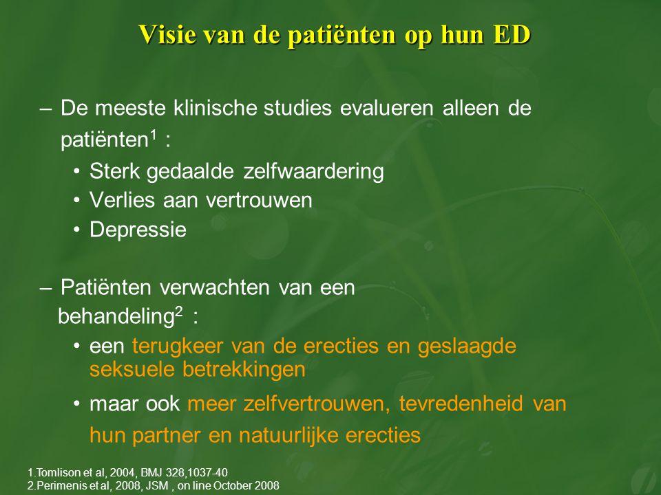Visie van de patiënten op hun ED –De meeste klinische studies evalueren alleen de patiënten 1 : Sterk gedaalde zelfwaardering Verlies aan vertrouwen D