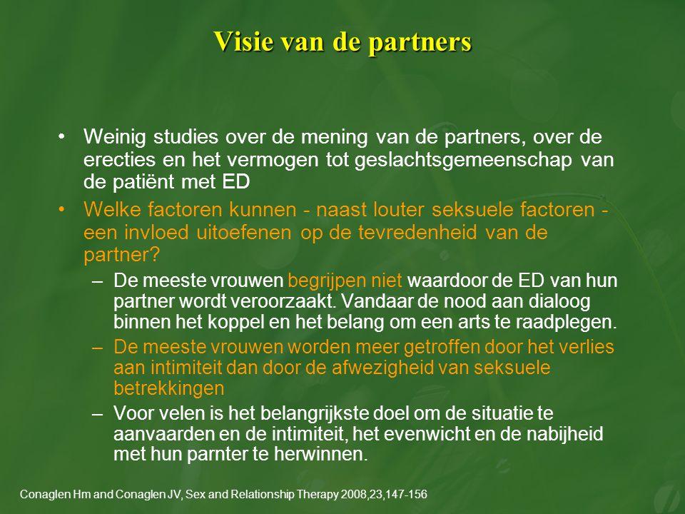 Visie van de partners Weinig studies over de mening van de partners, over de erecties en het vermogen tot geslachtsgemeenschap van de patiënt met ED W