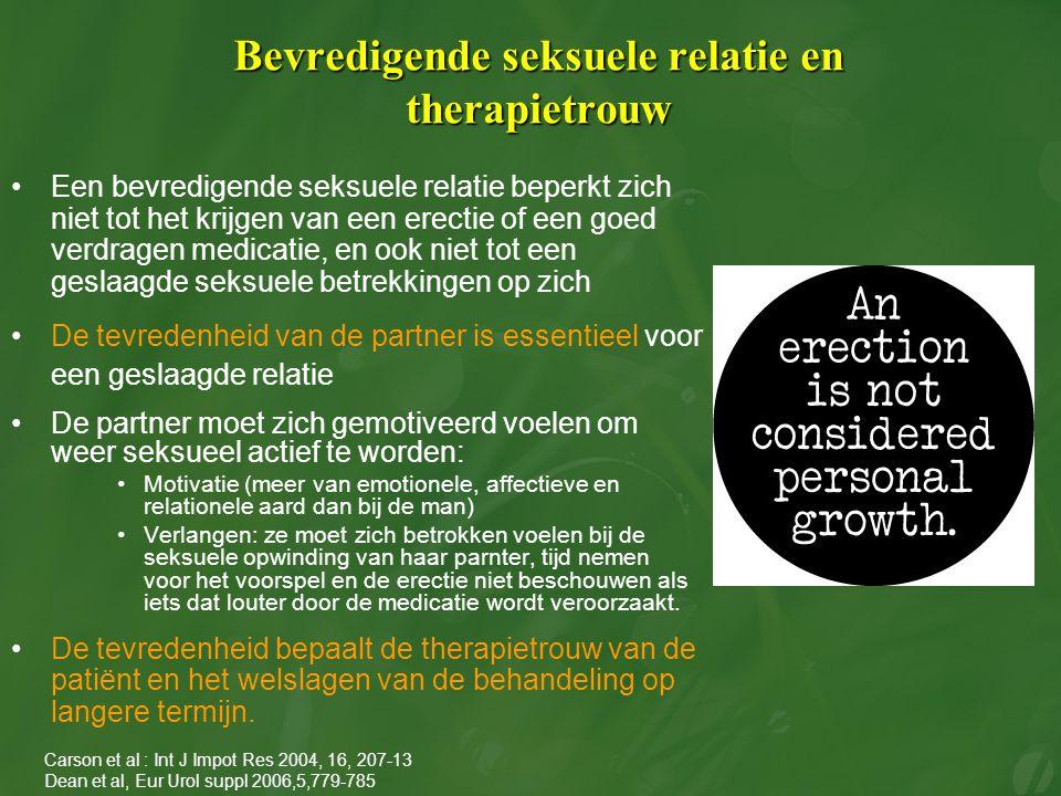 Bevredigende seksuele relatie en therapietrouw Een bevredigende seksuele relatie beperkt zich niet tot het krijgen van een erectie of een goed verdrag