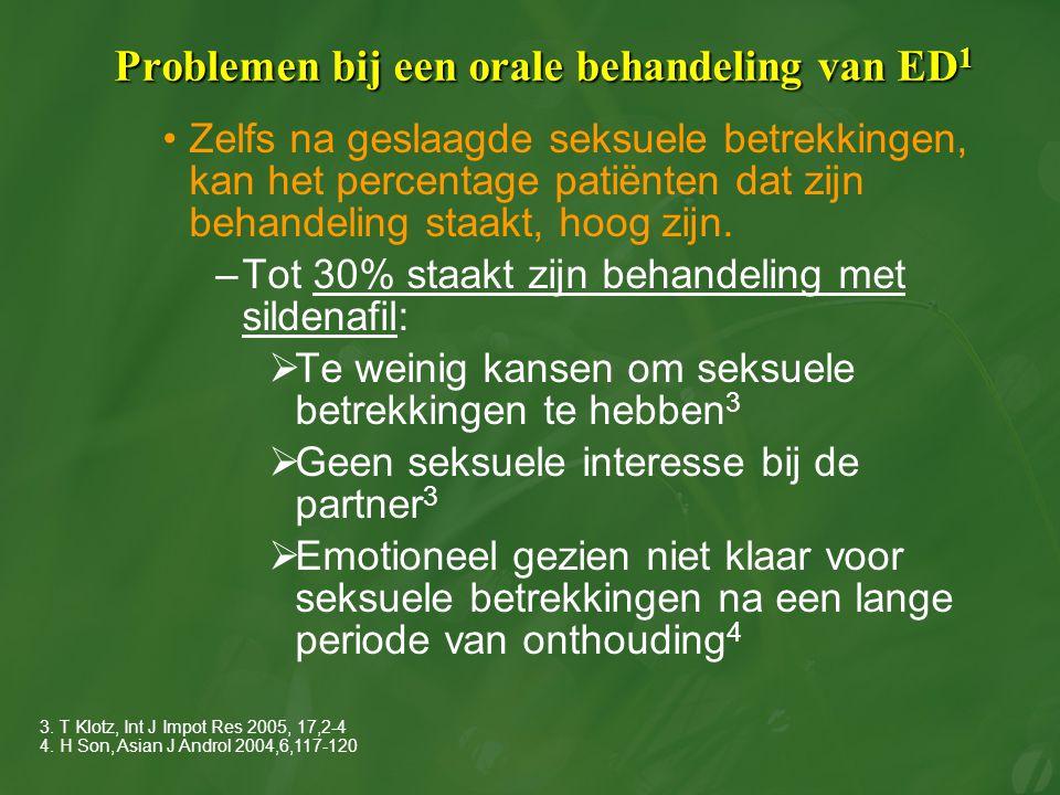 Problemen bij een orale behandeling van ED 1 Zelfs na geslaagde seksuele betrekkingen, kan het percentage patiënten dat zijn behandeling staakt, hoog