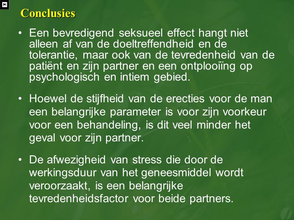 Conclusies Een bevredigend seksueel effect hangt niet alleen af van de doeltreffendheid en de tolerantie, maar ook van de tevredenheid van de patiënt