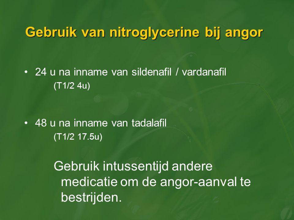 Gebruik van nitroglycerine bij angor 24 u na inname van sildenafil / vardanafil (T1/2 4u) 48 u na inname van tadalafil (T1/2 17.5u) Gebruik intussentijd andere medicatie om de angor-aanval te bestrijden.