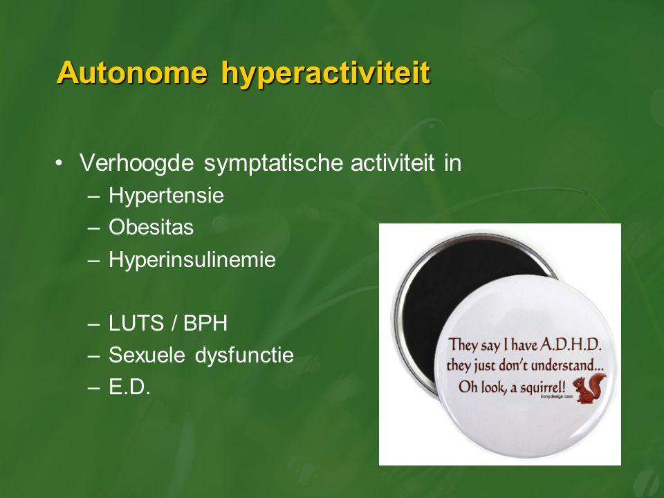 Autonome hyperactiviteit Verhoogde symptatische activiteit in –Hypertensie –Obesitas –Hyperinsulinemie –LUTS / BPH –Sexuele dysfunctie –E.D.
