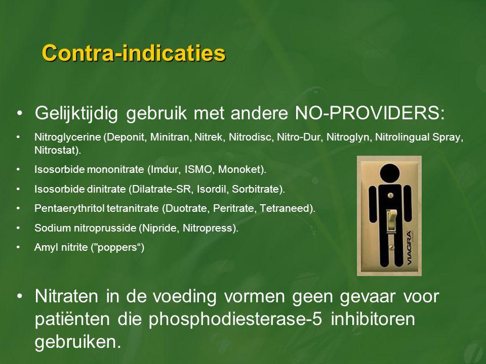 Contra-indicaties Gelijktijdig gebruik met andere NO-PROVIDERS: Nitroglycerine (Deponit, Minitran, Nitrek, Nitrodisc, Nitro-Dur, Nitroglyn, Nitrolingu