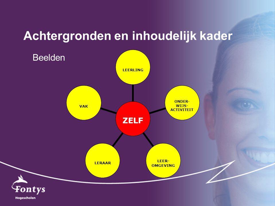 Achtergronden en inhoudelijk kader ZELF LEERLING ONDER- WIJS- ACTIVITEIT LEER- OMGEVING LERAARVAK Beelden