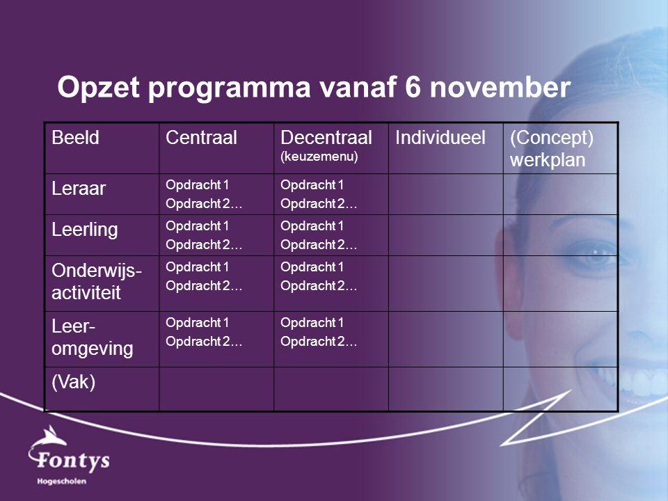 Opzet programma vanaf 6 november BeeldCentraalDecentraal (keuzemenu) Individueel(Concept) werkplan Leraar Opdracht 1 Opdracht 2… Opdracht 1 Opdracht 2… Leerling Opdracht 1 Opdracht 2… Opdracht 1 Opdracht 2… Onderwijs- activiteit Opdracht 1 Opdracht 2… Opdracht 1 Opdracht 2… Leer- omgeving Opdracht 1 Opdracht 2… Opdracht 1 Opdracht 2… (Vak)