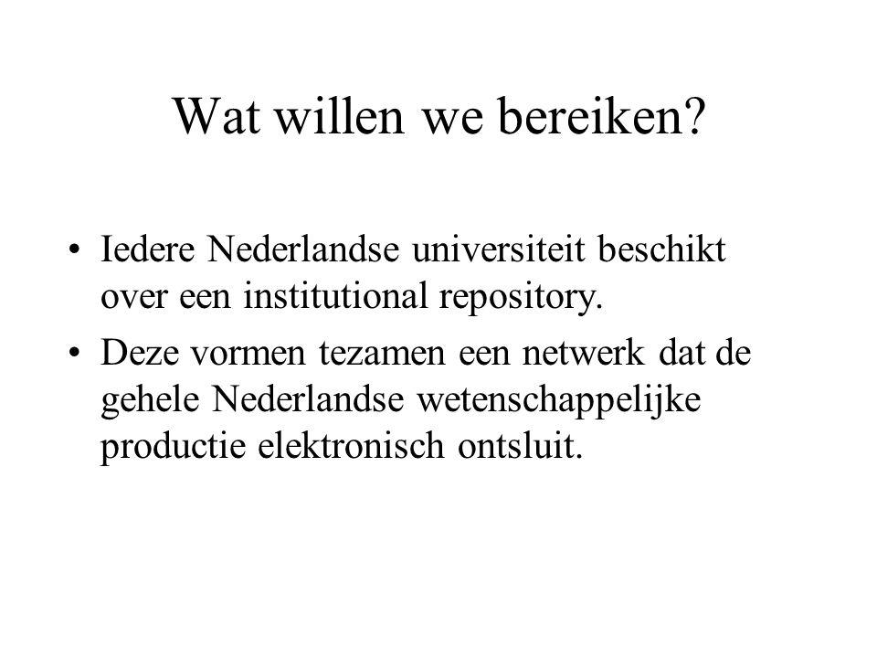 Wat willen we bereiken.Iedere Nederlandse universiteit beschikt over een institutional repository.