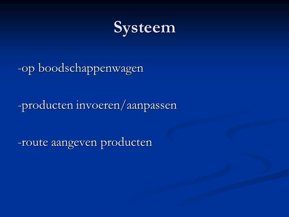 Systeem -op boodschappenwagen -producten invoeren/aanpassen -route aangeven producten