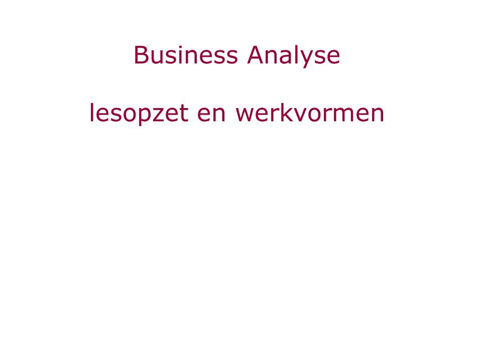 Business Analyse lesopzet en werkvormen
