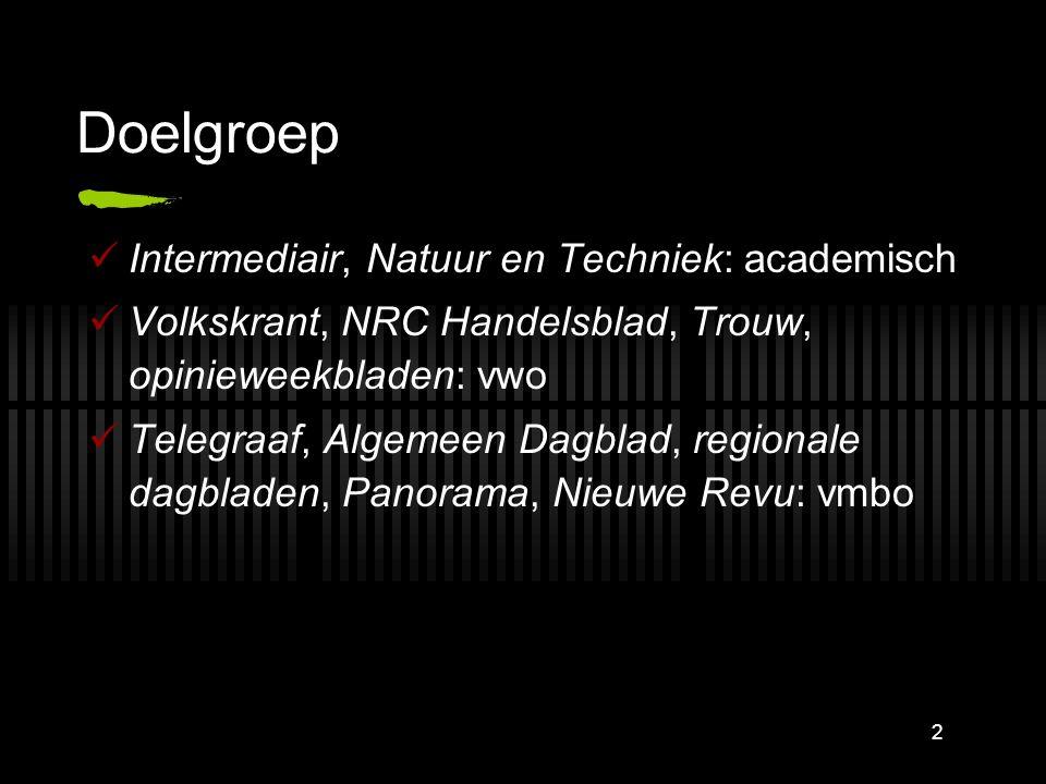 2 Doelgroep Intermediair, Natuur en Techniek: academisch Volkskrant, NRC Handelsblad, Trouw, opinieweekbladen: vwo Telegraaf, Algemeen Dagblad, regionale dagbladen, Panorama, Nieuwe Revu: vmbo