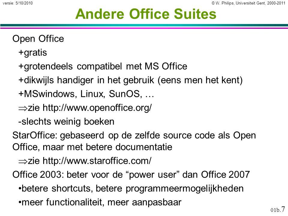 © W.Philips, Universiteit Gent, 2000-2011versie: 5/10/2010 01b.