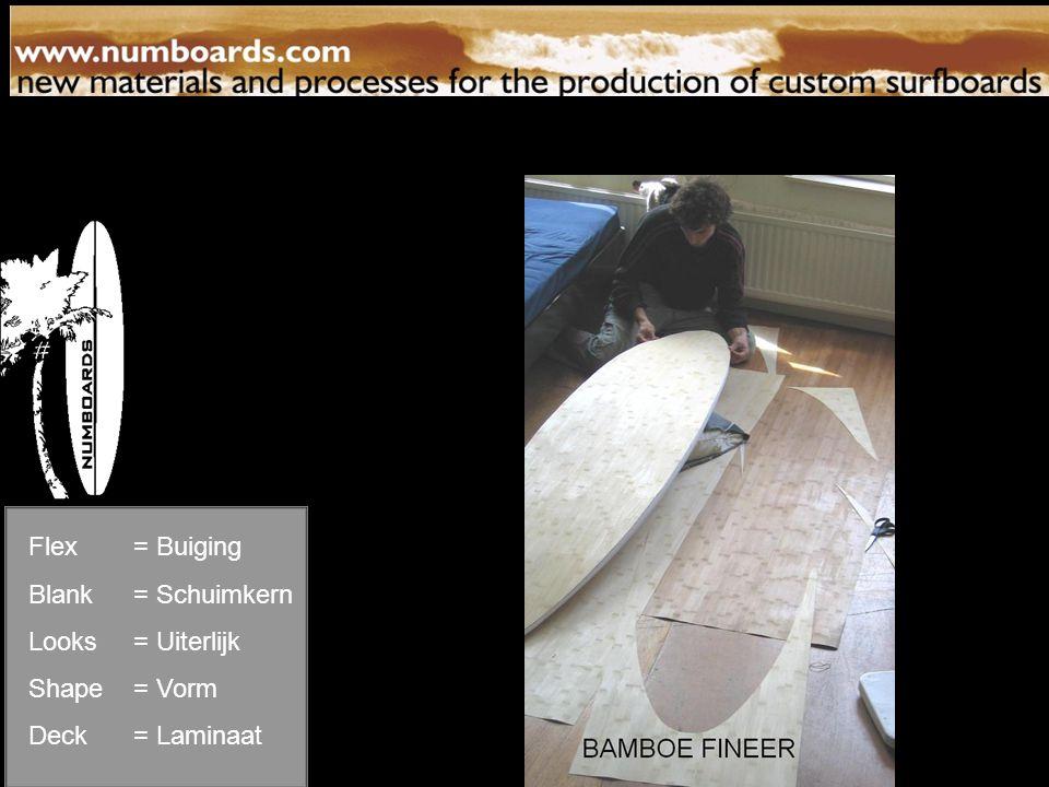 Laminaat Flex= Buiging Blank= Schuimkern Looks= Uiterlijk Shape= Vorm Deck= Laminaat